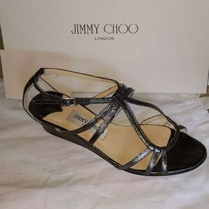 Jimmy Choo Anthracite Open-toed Low Wedge